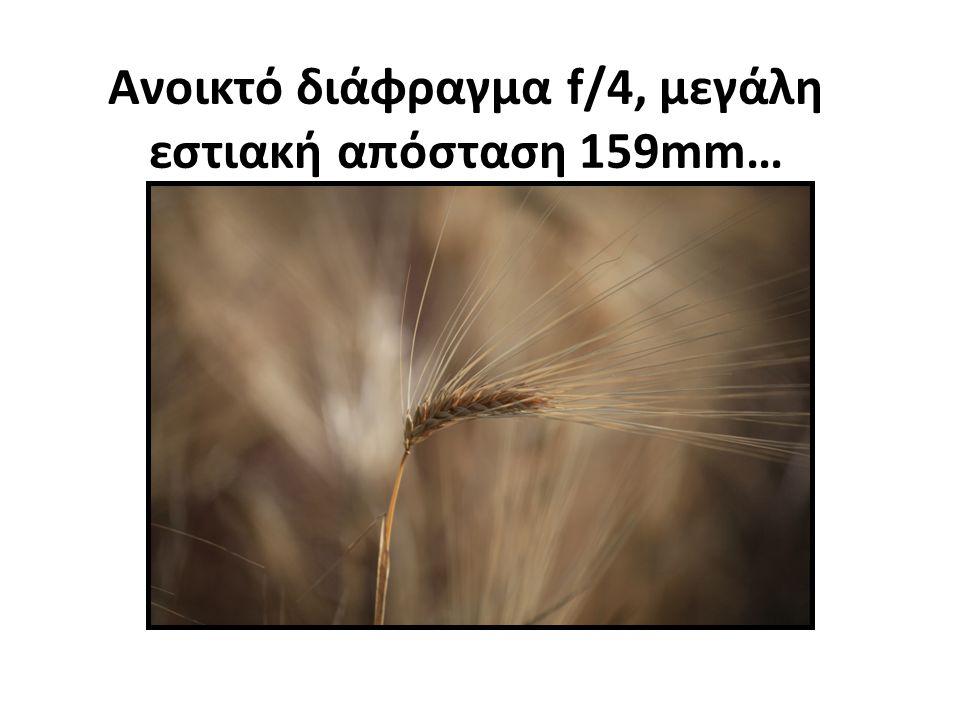 Ανοικτό διάφραγμα f/4, μεγάλη εστιακή απόσταση 159mm…
