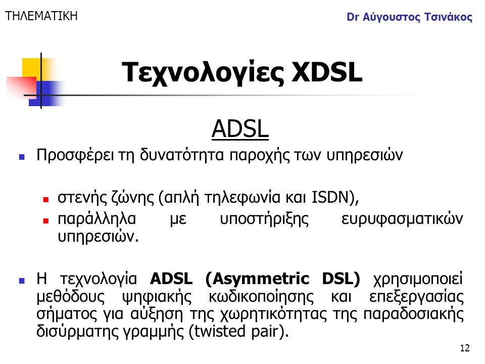 12 Dr Αύγουστος Τσινάκος ADSL  Προσφέρει τη δυνατότητα παροχής των υπηρεσιών  στενής ζώνης (απλή τηλεφωνία και ISDN),  παράλληλα με υποστήριξης ευρ