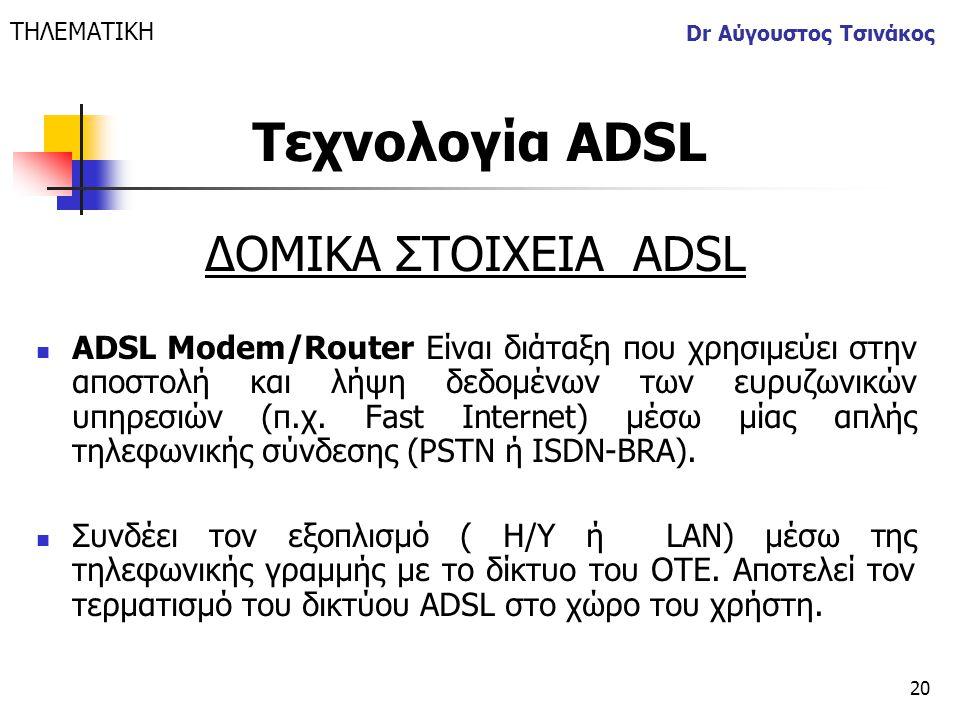 20 Dr Αύγουστος Τσινάκος ΔΟΜΙΚΑ ΣΤΟΙΧΕΙΑ ΑDSL  ADSL Modem/Router Είναι διάταξη που χρησιμεύει στην αποστολή και λήψη δεδομένων των ευρυζωνικών υπηρεσ