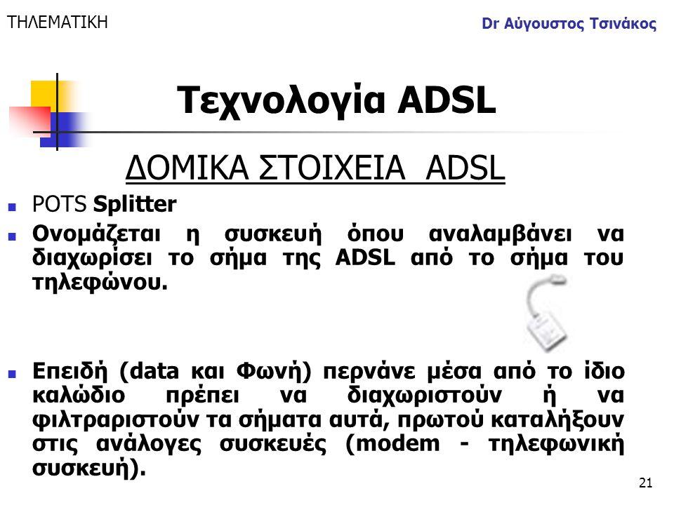 21 Dr Αύγουστος Τσινάκος ΔΟΜΙΚΑ ΣΤΟΙΧΕΙΑ ΑDSL  POTS Splitter  Ονομάζεται η συσκευή όπου αναλαμβάνει να διαχωρίσει το σήμα της ADSL από το σήμα του τ