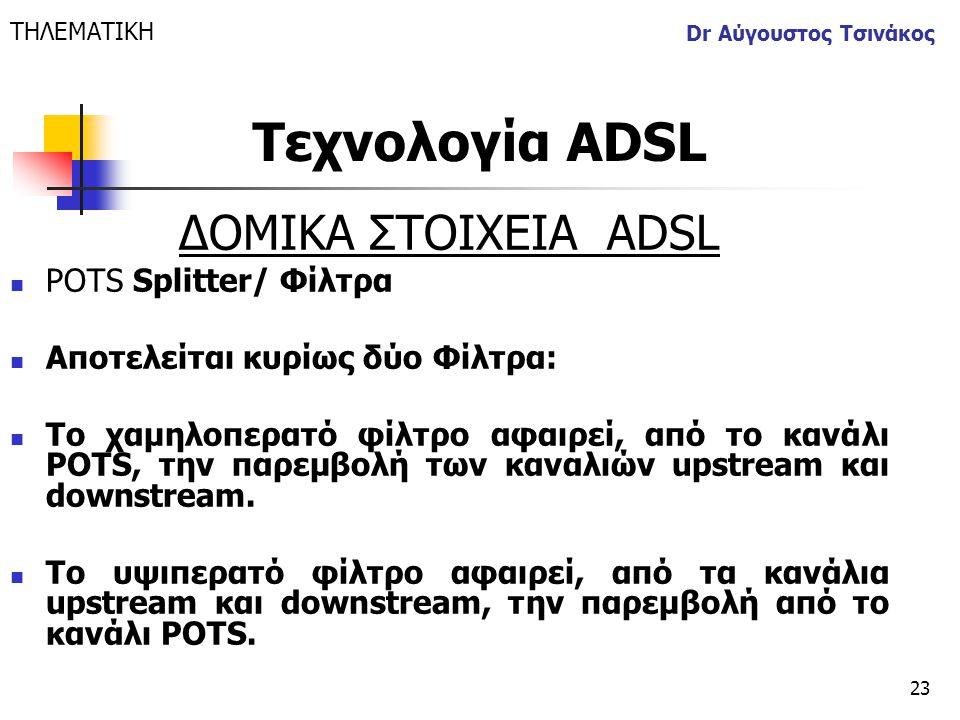 23 Dr Αύγουστος Τσινάκος ΔΟΜΙΚΑ ΣΤΟΙΧΕΙΑ ΑDSL  POTS Splitter/ Φίλτρα  Αποτελείται κυρίως δύο Φίλτρα:  To χαμηλοπερατό φίλτρο αφαιρεί, από το κανάλι