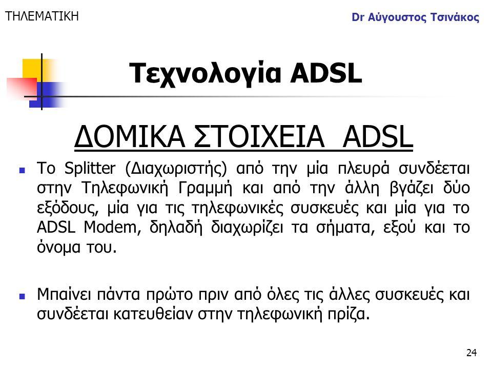 24 Dr Αύγουστος Τσινάκος ΔΟΜΙΚΑ ΣΤΟΙΧΕΙΑ ΑDSL  Το Splitter (Διαχωριστής) από την μία πλευρά συνδέεται στην Τηλεφωνική Γραμμή και από την άλλη βγάζει