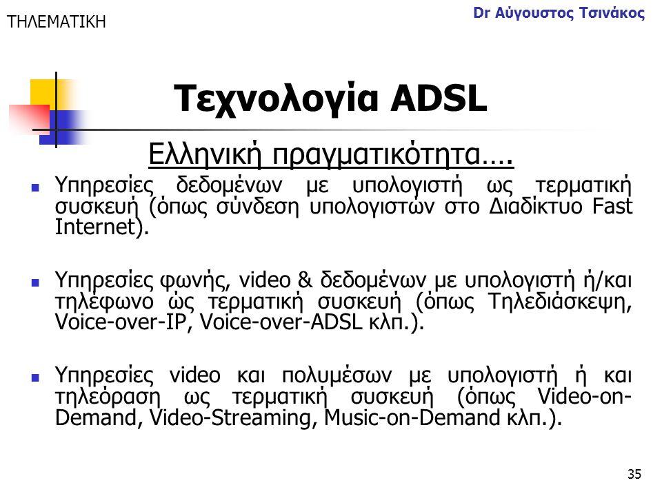 35 Dr Αύγουστος Τσινάκος Ελληνική πραγματικότητα….  Υπηρεσίες δεδομένων με υπολογιστή ως τερματική συσκευή (όπως σύνδεση υπολογιστών στο Διαδίκτυο Fa