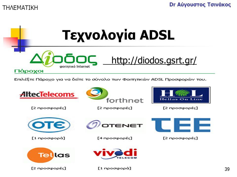 39 Dr Αύγουστος Τσινάκος http://diodos.gsrt.gr/ ΤΗΛΕΜΑΤΙΚΗ Τεχνολογία ΑDSL