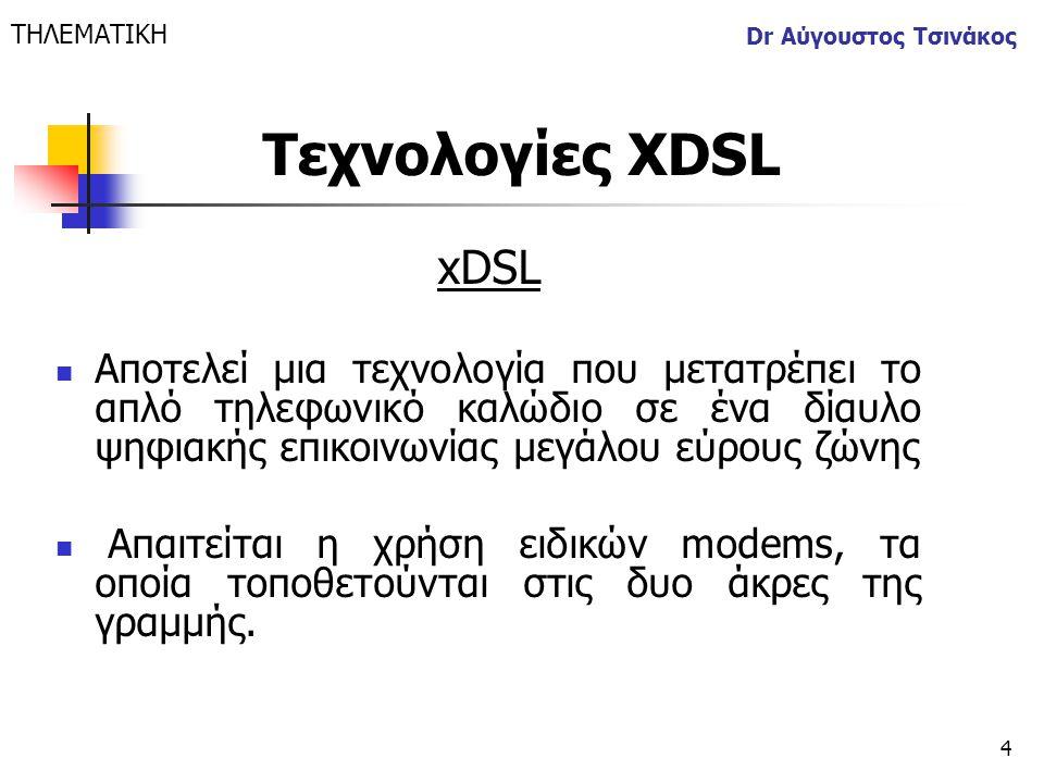 4 Dr Αύγουστος Τσινάκος xDSL  Αποτελεί μια τεχνολογία που μετατρέπει το απλό τηλεφωνικό καλώδιο σε ένα δίαυλο ψηφιακής επικοινωνίας μεγάλου εύρους ζώ