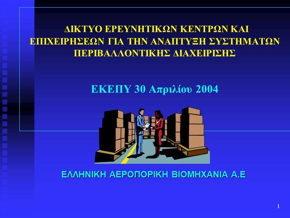 1 ΔΙΚΤΥΟ ΕΡΕΥΝΗΤΙΚΩΝ ΚΕΝΤΡΩΝ ΚΑΙ ΕΠΙΧΕΙΡΗΣΕΩΝ ΓΙΑ ΤΗΝ ΑΝΑΠΤΥΞΗ ΣΥΣΤΗΜΑΤΩΝ ΠΕΡΙΒΑΛΛΟΝΤΙΚΗΣ ΔΙΑΧΕΙΡΙΣΗΣ ΕΚΕΠΥ 30 Απριλίου 2004 ΕΛΛΗΝΙΚΗ ΑΕΡΟΠΟΡΙΚΗ ΒΙΟΜΗ