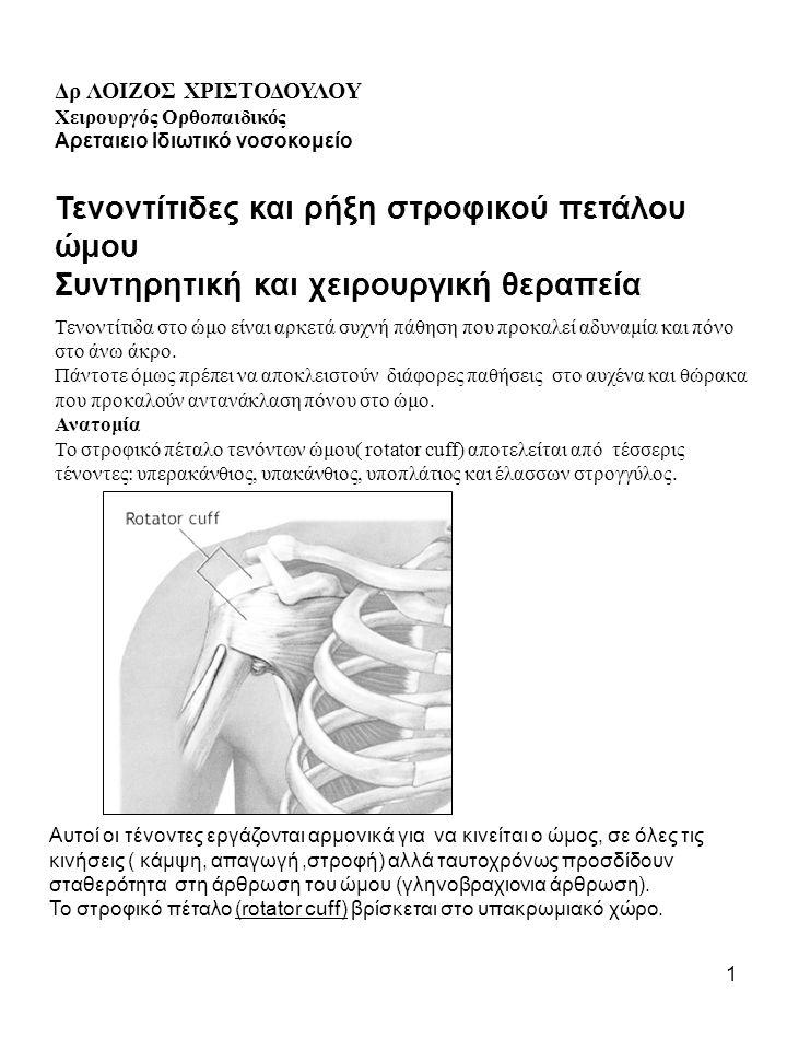1 Δρ ΛΟΙΖΟΣ ΧΡΙΣΤΟΔΟΥΛΟΥ Χειρουργός Oρθοπαιδικός Αρεταιειο Ιδιωτικό νοσοκομείο Τενοντίτιδες και ρήξη στροφικού πετάλου ώμου Συντηρητική και χειρουργικ