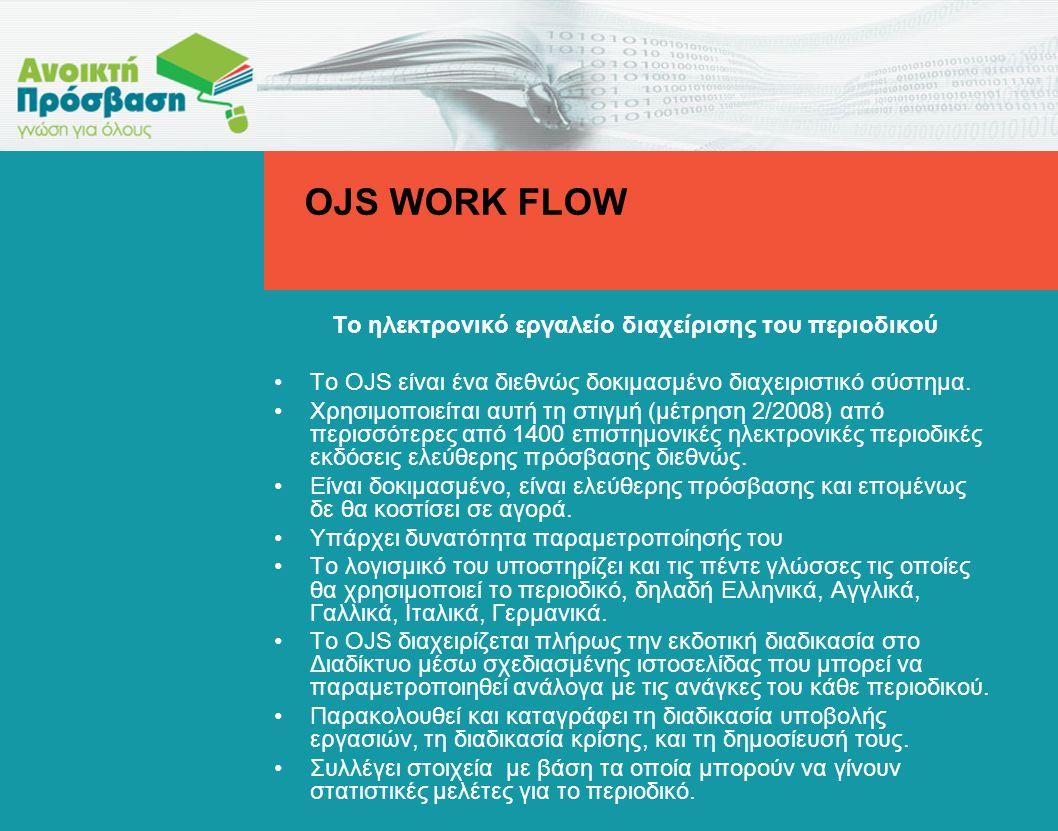 To ηλεκτρονικό εργαλείο διαχείρισης του περιοδικού •Το OJS είναι ένα διεθνώς δοκιμασμένο διαχειριστικό σύστημα.
