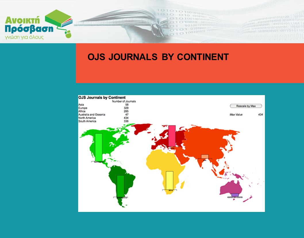 OJS JOURNALS BY CONTINENT