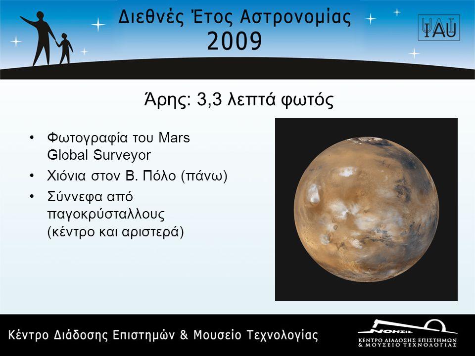 Άρης: 3,3 λεπτά φωτός •Φωτογραφία του Mars Global Surveyor •Χιόνια στον Β. Πόλο (πάνω) •Σύννεφα από παγοκρύσταλλους (κέντρο και αριστερά)