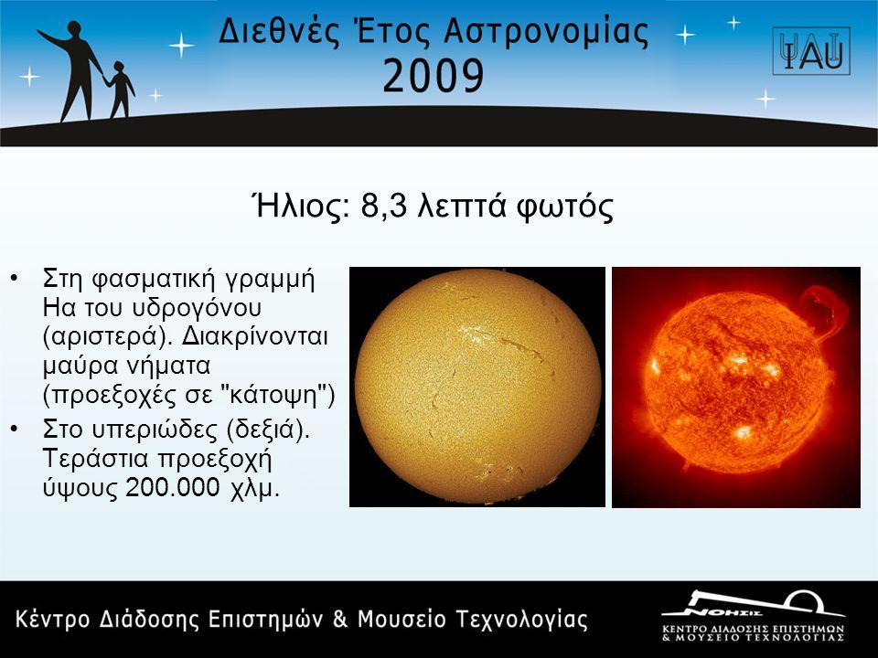 Ήλιος: 8,3 λεπτά φωτός •Στη φασματική γραμμή Ηα του υδρογόνου (αριστερά). Διακρίνονται μαύρα νήματα (προεξοχές σε