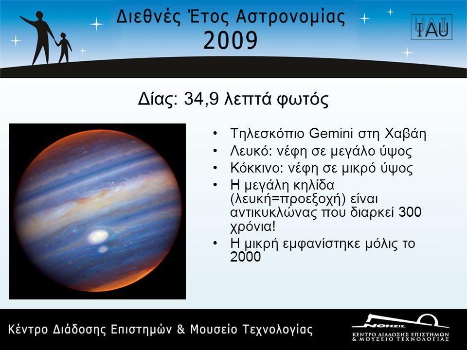 Δίας: 34,9 λεπτά φωτός •Τηλεσκόπιο Gemini στη Χαβάη •Λευκό: νέφη σε μεγάλο ύψος •Κόκκινο: νέφη σε μικρό ύψος •Η μεγάλη κηλίδα (λευκή=προεξοχή) είναι α