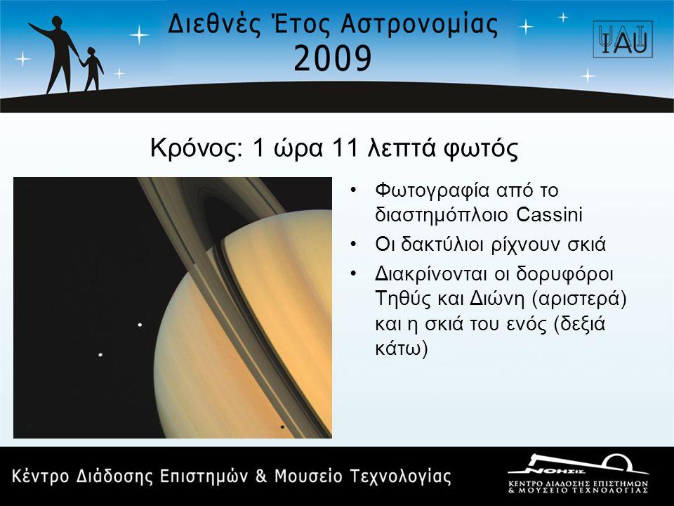 Κρόνος: 1 ώρα 11 λεπτά φωτός •Φωτογραφία από το διαστημόπλοιο Cassini •Οι δακτύλιοι ρίχνουν σκιά •Διακρίνονται οι δορυφόροι Τηθύς και Διώνη (αριστερά)