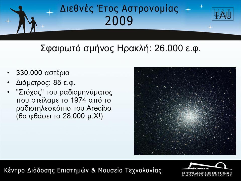 Σφαιρωτό σμήνος Ηρακλή: 26.000 ε.φ. •330.000 αστέρια •Διάμετρος: 85 ε.φ. •