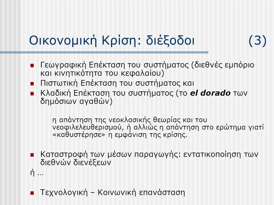 Οικονομική Κρίση: διέξοδοι (3)  Γεωγραφική Επέκταση του συστήματος (διεθνές εμπόριο και κινητικότητα του κεφαλαίου)  Πιστωτική Επέκταση του συστήματ