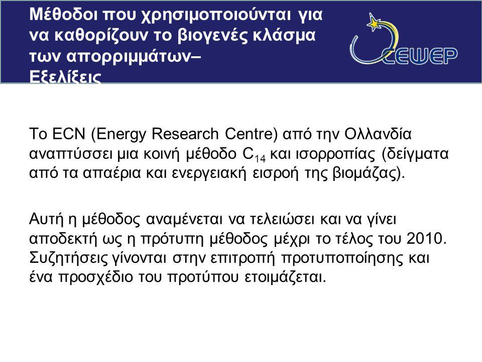 Μέθοδοι που χρησιμοποιούνται για να καθορίζουν το βιογενές κλάσμα των απορριμμάτων– Εξελίξεις Το ECN (Energy Research Centre) από την Ολλανδία αναπτύσσει μια κοινή μέθοδο C 14 και ισορροπίας (δείγματα από τα απαέρια και ενεργειακή εισροή της βιομάζας).