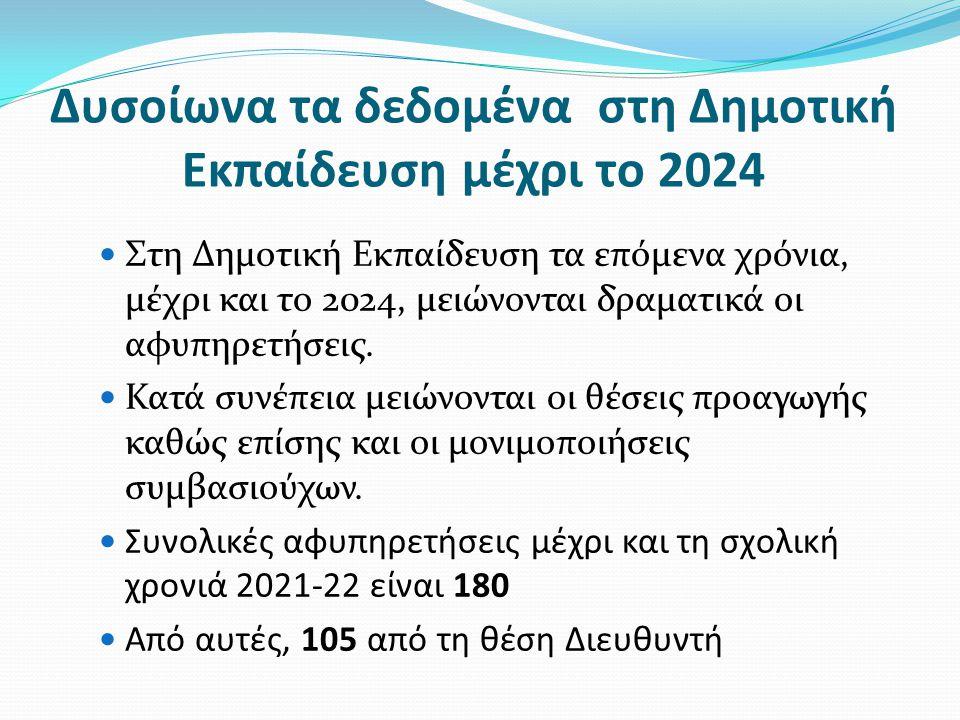 Δυσοίωνα τα δεδομένα στη Δημοτική Εκπαίδευση μέχρι το 2024  Στη Δημοτική Εκπαίδευση τα επόμενα χρόνια, μέχρι και το 2024, μειώνονται δραματικά οι αφυπηρετήσεις.