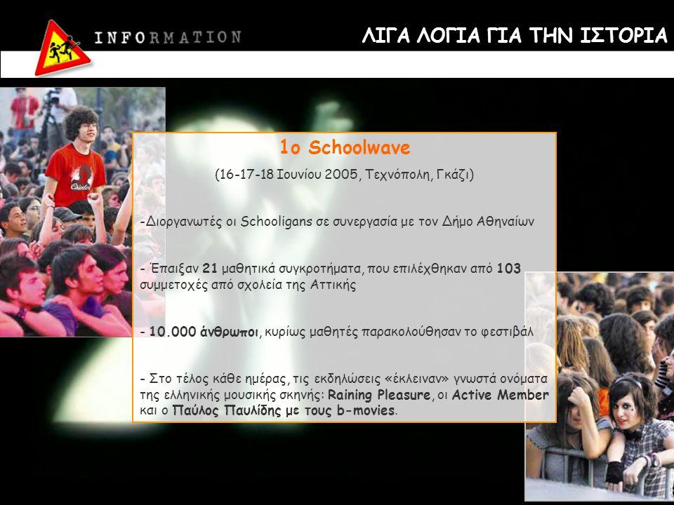 ΛΙΓΑ ΛΟΓΙΑ ΓΙΑ ΤΗΝ ΙΣΤΟΡΙΑ 1o Schoolwave (16-17-18 Ιουνίου 2005, Τεχνόπολη, Γκάζι) -Διοργανωτές οι Schooligans σε συνεργασία με τον Δήμο Αθηναίων - Έπ