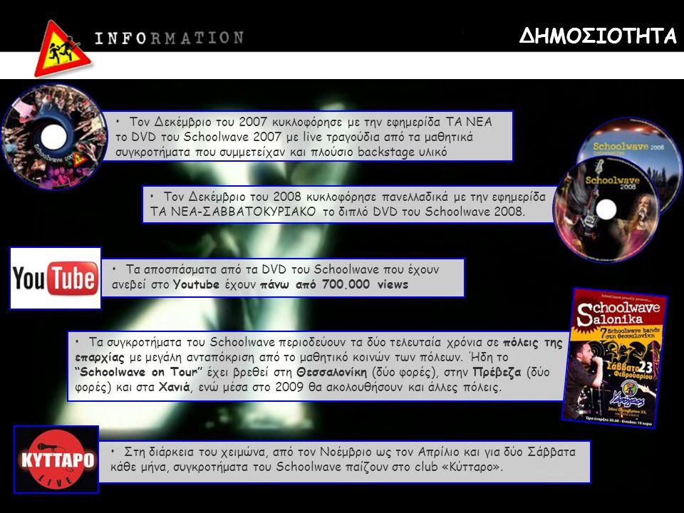 ΔΗΜΟΣΙΟΤΗΤΑ •Τον Δεκέμβριο του 2007 κυκλοφόρησε με την εφημερίδα ΤΑ ΝΕΑ το DVD του Schoolwave 2007 με live τραγούδια από τα μαθητικά συγκροτήματα που