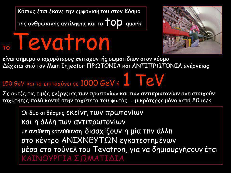 το Tevatron είναι σήμερα ο ισχυρότερος επιταχυντής σωματιδίων στον κόσμο Δέχεται από τον Main Injector ΠΡΩΤΟΝΙΑ και ΑΝΤΙΠΡΩΤΟΝΙΑ ενέργειας 150 GeV και τα επιταχύνει σε 1000 GeV ή 1 TeV.