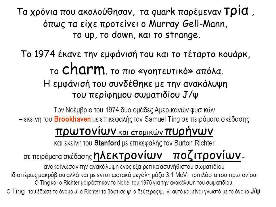 Το ερώτημα ήταν «από τι αποτελείται το σωματίδιο J/ψ εφόσον δεν είναι στοιχειώδες ;» Και η απάντηση που δόθηκε ήταν ότι «αποτελείται από κάποιο κουάρκ -που δεν ανήκει στα τότε γνωστά up, down και strange – -και το αντικουάρκ του» Τελικά κυριάρχησε η τολμηρή προσέγγιση ότι «το J/ψ είναι ένας συνδυασμός ενός κουάρκ charm και του αντικουάρκ του»