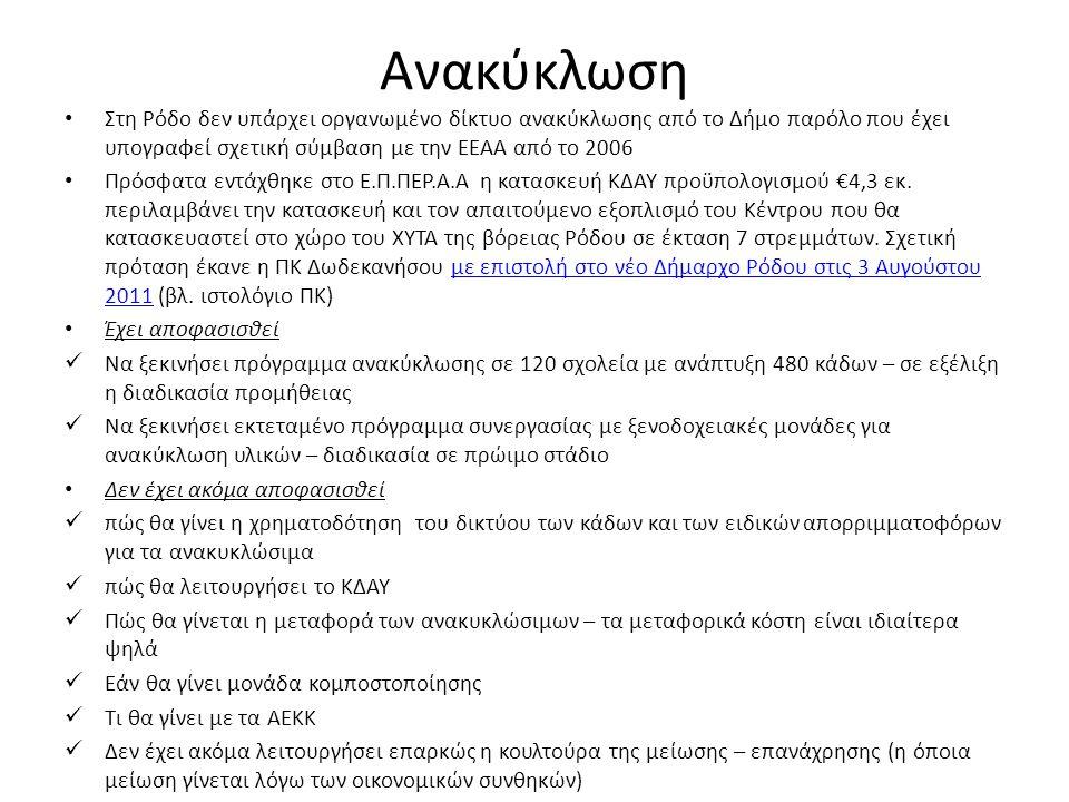 Ανακύκλωση • Στη Ρόδο δεν υπάρχει οργανωμένο δίκτυο ανακύκλωσης από το Δήμο παρόλο που έχει υπογραφεί σχετική σύμβαση με την ΕΕΑΑ από το 2006 • Πρόσφατα εντάχθηκε στο Ε.Π.ΠΕΡ.Α.Α η κατασκευή ΚΔΑΥ προϋπολογισμού €4,3 εκ.