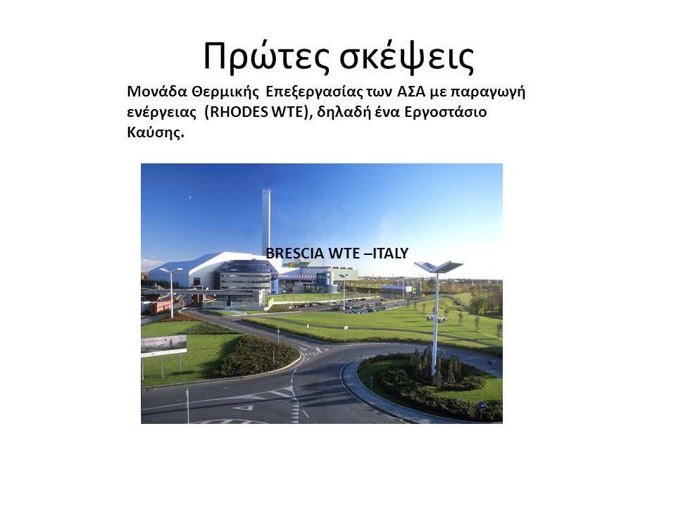 Πρώτες σκέψεις BRESCIA WTE –ITALY Μονάδα Θερμικής Επεξεργασίας των ΑΣΑ με παραγωγή ενέργειας (RHODES WTE), δηλαδή ένα Εργοστάσιο Καύσης.