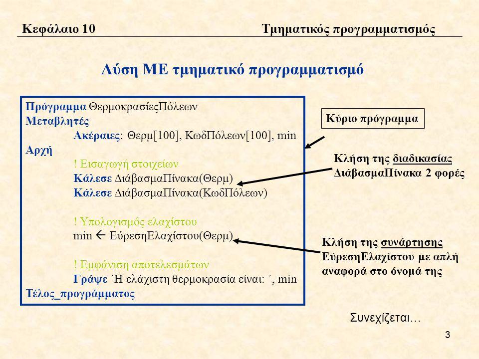 4 Λύση ΜΕ τμηματικό προγραμματισμό Διαδικασία ΔιάβασμαΠίνακα(Π) Μεταβλητές Ακέραιες: Π[100], χ Αρχή Για χ από 1 μέχρι 100 Διάβασε Π[χ] Τέλος_επανάληψης Τέλος_διαδικασίας Δήλωση της διαδικασίας ΔιάβασμαΠίνακα Δήλωση της συνάρτησης ΕύρεσηΕλαχίστου Συνάρτηση ΕύρεσηΕλαχίστου(Π): Ακέραια Μεταβλητές Ακέραιες: Π[100], χ, min Αρχή min  Π[1] Για χ από 2 μέχρι 100 Αν Π[χ] < min τότε min  Π[x] Τέλος_αν Τέλος_επανάληψης ΕύρεσηΕλαχίστου  min .