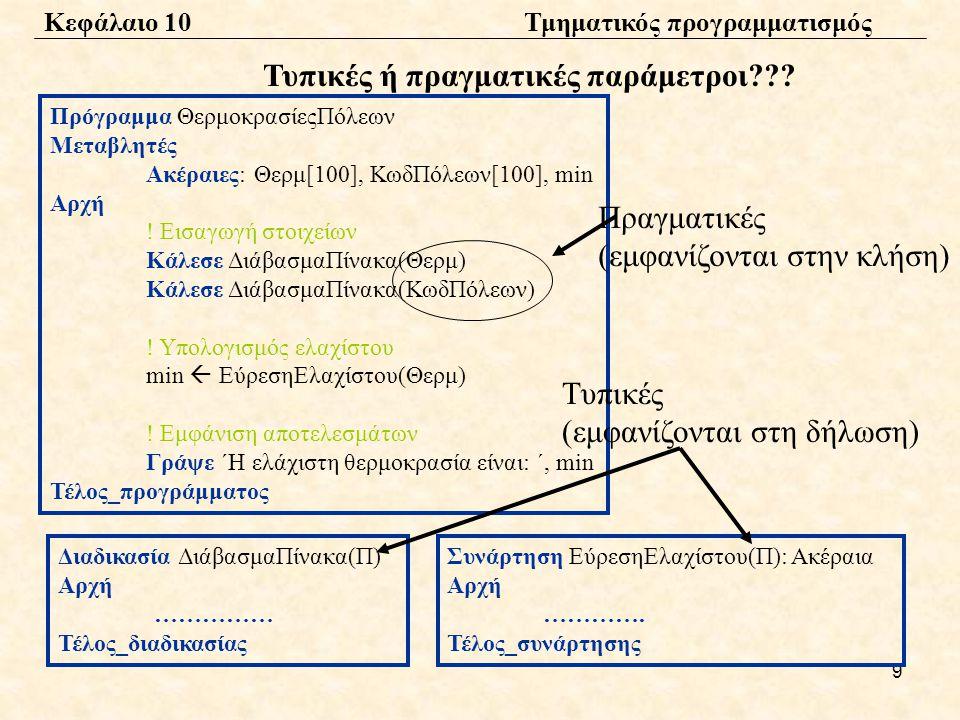 9 Πρόγραμμα ΘερμοκρασίεςΠόλεων Μεταβλητές Ακέραιες: Θερμ[100], ΚωδΠόλεων[100], min Αρχή .