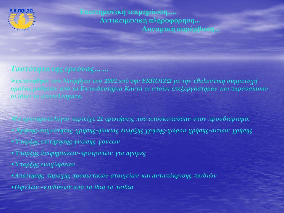 Ταυτότητα της έρευνας……   Απάντησαν 634 παιδιά 10 – 14 ετών (Ε' και ΣΤ' Δημοτικού, Α', Β' και Γ' Γυμνασίου) από 35 σχολεία (Αθήνα, Θεσσαλονίκη, Πάτρα, Καβάλα, Βόλος, Κέρκυρα, Βοιωτία, Λέσβος, Πρέβεζα).