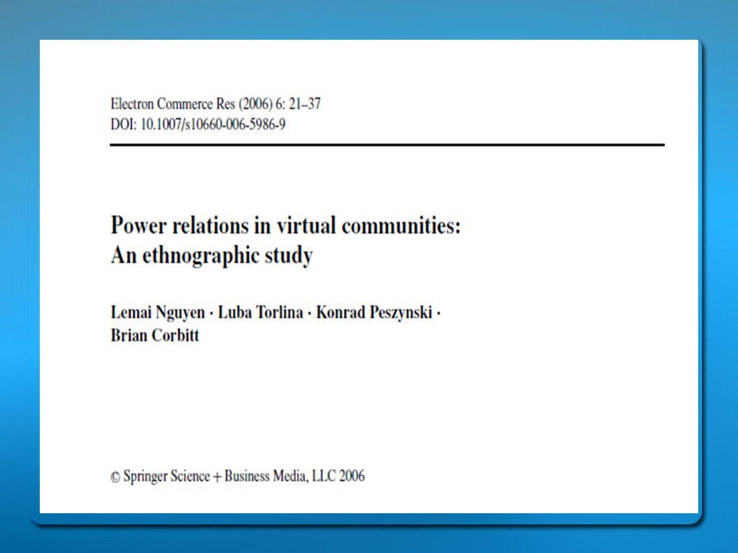 Συμπεράσματα • Οι παρατηρήσεις και στις δύο κοινότητες οδηγούν στο συμπέρασμα ότι τα άτομα παρουσιάζουν την τάση να αναπαράγουν τις εξουσιαστικές σχέσεις από το πολιτισμικό περιβάλλον στο δυνητικό.