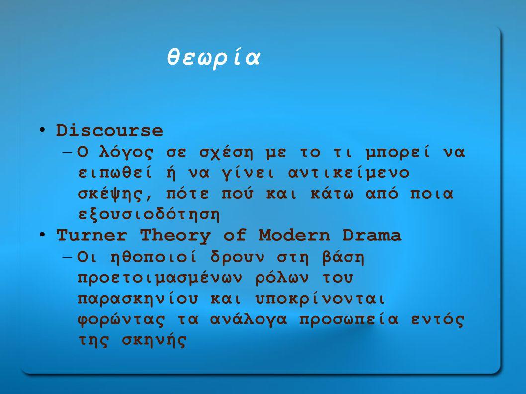 θεωρία • Discourse – O λόγος σε σχέση με το τι μπορεί να ειπωθεί ή να γίνει αντικείμενο σκέψης, πότε πού και κάτω από ποια εξουσιοδότηση • Turner Theory οf Modern Drama – Oι ηθοποιοί δρουν στη βάση προετοιμασμένων ρόλων του παρασκηνίου και υποκρίνονται φορώντας τα ανάλογα προσωπεία εντός της σκηνής