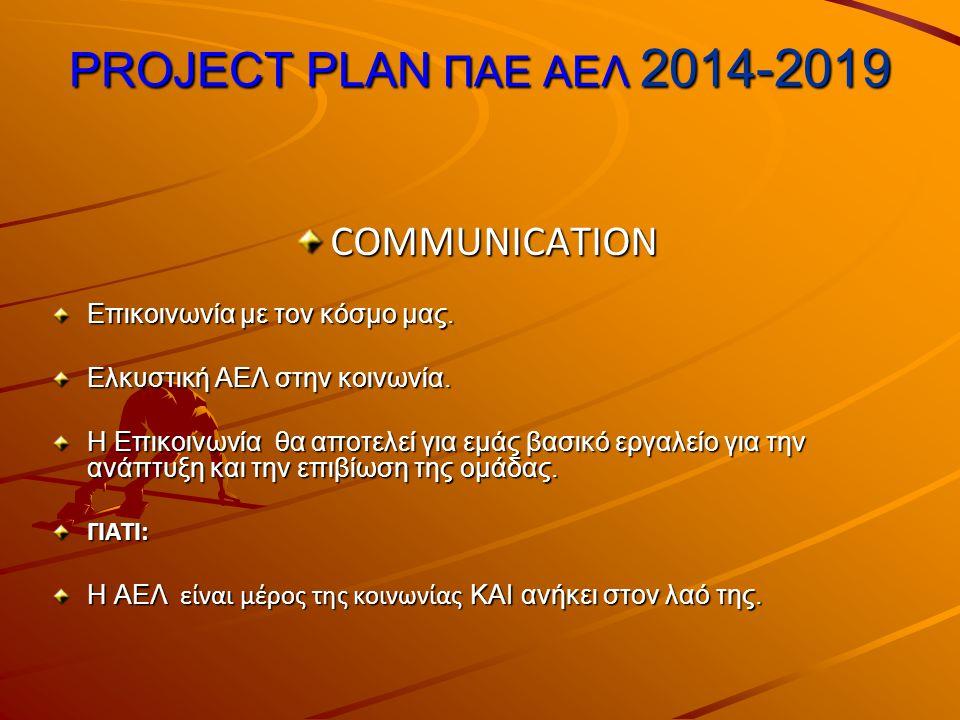 PROJECT PLAN ΠΑΕ ΑΕΛ 2014-2019 COMMUNICATION Επικοινωνία με τον κόσμο μας.