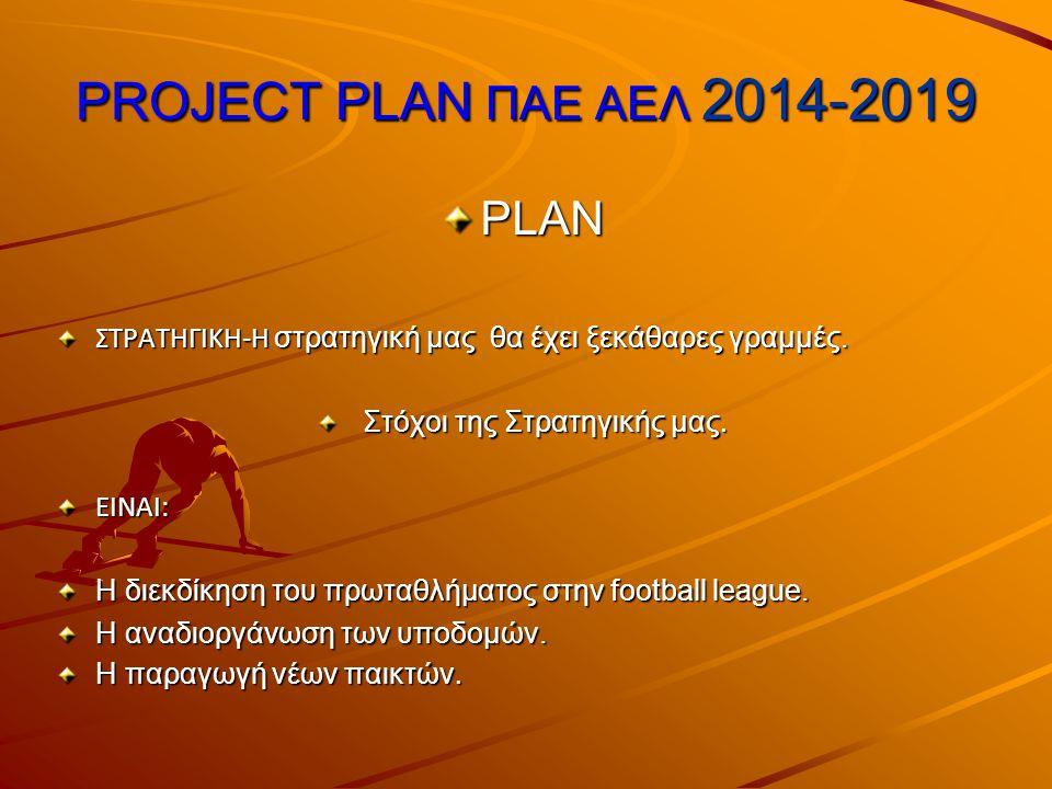PROJECT PLAN ΠΑΕ ΑΕΛ 2014-2019 PLAN PLAN ΟΡΑΜΑ ΜΑΣ ΕΙΝΑΙ: Η καθιέρωση της ΑΕΛ στην Super league με στελέχωση της ομάδας μας από γηγενείς παίκτες.
