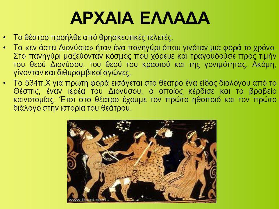 ΑΡΧΑΙΑ ΕΛΛΑΔΑ •Το θέατρο προήλθε από θρησκευτικές τελετές. •Τα «εν άστει Διονύσια» ήταν ένα πανηγύρι όπου γινόταν μια φορά το χρόνο. Στο πανηγύρι μαζε