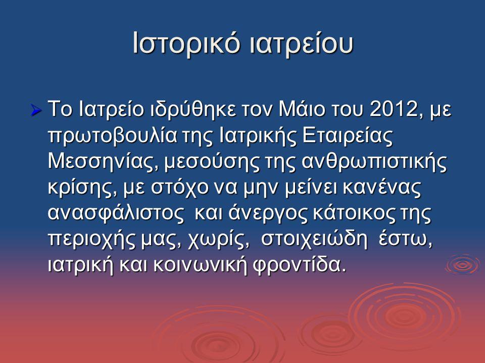 Ιστορικό ιατρείου  Το Ιατρείο ιδρύθηκε τον Μάιο του 2012, με πρωτοβουλία της Ιατρικής Εταιρείας Μεσσηνίας, μεσούσης της ανθρωπιστικής κρίσης, με στόχο να μην μείνει κανένας ανασφάλιστος και άνεργος κάτοικος της περιοχής μας, χωρίς, στοιχειώδη έστω, ιατρική και κοινωνική φροντίδα.