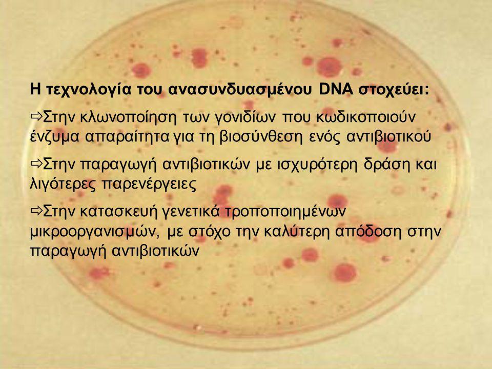 Η τεχνολογία του ανασυνδυασμένου DNA στοχεύει:  Στην κλωνοποίηση των γονιδίων που κωδικοποιούν ένζυμα απαραίτητα για τη βιοσύνθεση ενός αντιβιοτικού