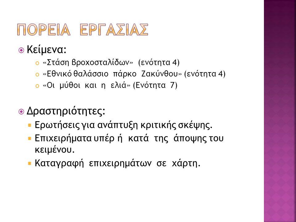  Κείμενα: «Στάση βροχοσταλίδων» (ενότητα 4) «Εθνικό θαλάσσιο πάρκο Ζακύνθου» (ενότητα 4) «Οι μύθοι και η ελιά» (Ενότητα 7)  Δραστηριότητες:  Ερωτήσ