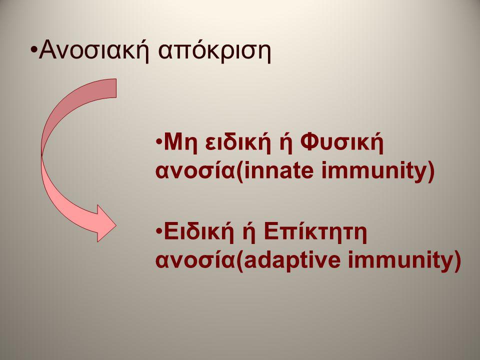 •Μη ειδική ή Φυσική ανοσία(innate immunity) •Ειδική ή Επίκτητη ανοσία(adaptive immunity) •Ανοσιακή απόκριση