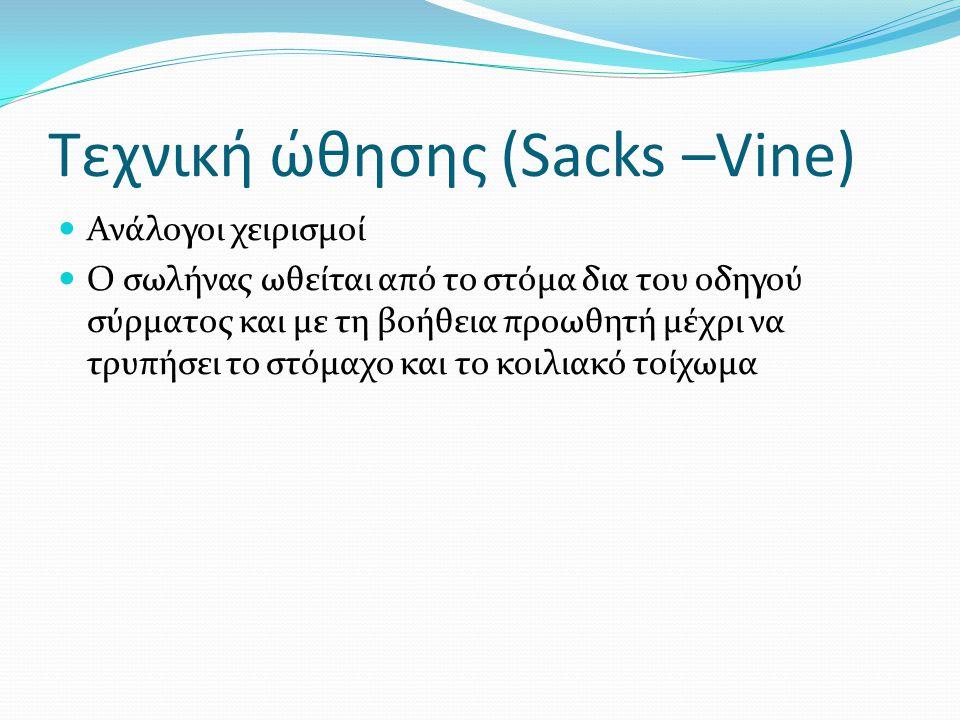 Τεχνική ώθησης (Sacks –Vine)  Ανάλογοι χειρισμοί  Ο σωλήνας ωθείται από το στόμα δια του οδηγού σύρματος και με τη βοήθεια προωθητή μέχρι να τρυπήσε