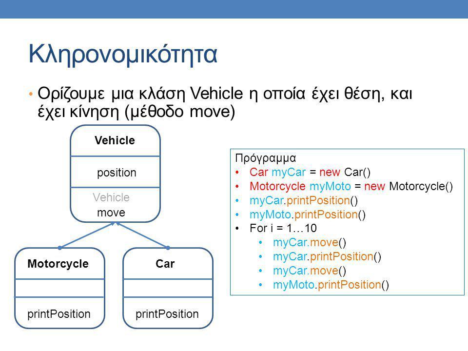 Κληρονομικότητα • Ορίζουμε μια κλάση Vehicle η οποία έχει θέση, και έχει κίνηση (μέθοδο move) Car printPosition Πρόγραμμα •Car myCar = new Car() •Motorcycle myMoto = new Motorcycle() •myCar.printPosition() •myMoto.printPosition() •For i = 1…10 •myCar.move() •myCar.printPosition() •myCar.move() •myMoto.printPosition() Vehicle position move Vehicle Motorcycle printPosition