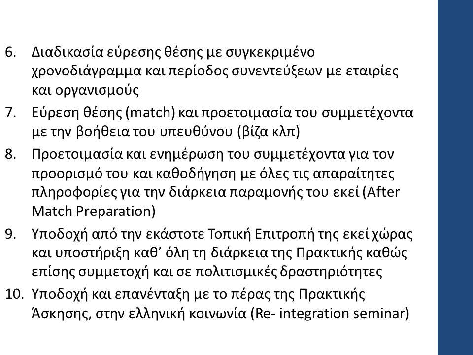 6.Διαδικασία εύρεσης θέσης με συγκεκριμένο χρονοδιάγραμμα και περίοδος συνεντεύξεων με εταιρίες και οργανισμούς 7.Εύρεση θέσης (match) και προετοιμασία του συμμετέχοντα με την βοήθεια του υπευθύνου (βίζα κλπ) 8.Προετοιμασία και ενημέρωση του συμμετέχοντα για τον προορισμό του και καθοδήγηση με όλες τις απαραίτητες πληροφορίες για την διάρκεια παραμονής του εκεί (After Match Preparation) 9.Υποδοχή από την εκάστοτε Τοπική Επιτροπή της εκεί χώρας και υποστήριξη καθ' όλη τη διάρκεια της Πρακτικής καθώς επίσης συμμετοχή και σε πολιτισμικές δραστηριότητες 10.Υποδοχή και επανένταξη με το πέρας της Πρακτικής Άσκησης, στην ελληνική κοινωνία (Re- integration seminar)