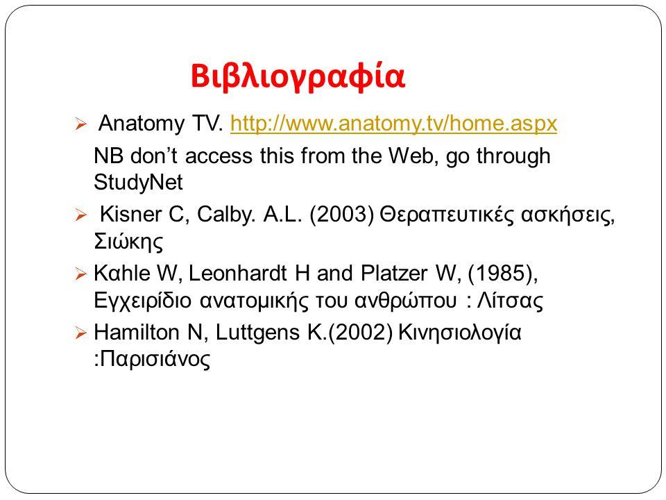 Βιβλιογραφία  Anatomy TV. http://www.anatomy.tv/home.aspxhttp://www.anatomy.tv/home.aspx NB don't access this from the Web, go through StudyNet  Kis