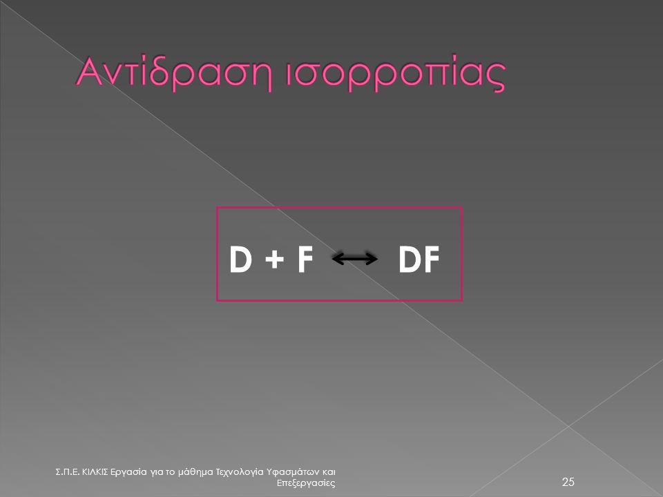 Λουτρό βαφής Ίνα (F) Μεσοδιάστημα D απορρόφηση D =χρώμα αποβολή 24 Σ.Π.Ε.