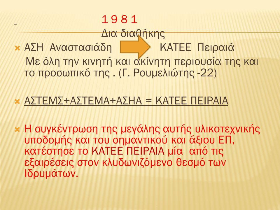 1 9 8 1 Δια διαθήκης  ΑΣΗ Αναστασιάδη ΚΑΤΕΕ Πειραιά Με όλη την κινητή και ακίνητη περιουσία της και το προσωπικό της.