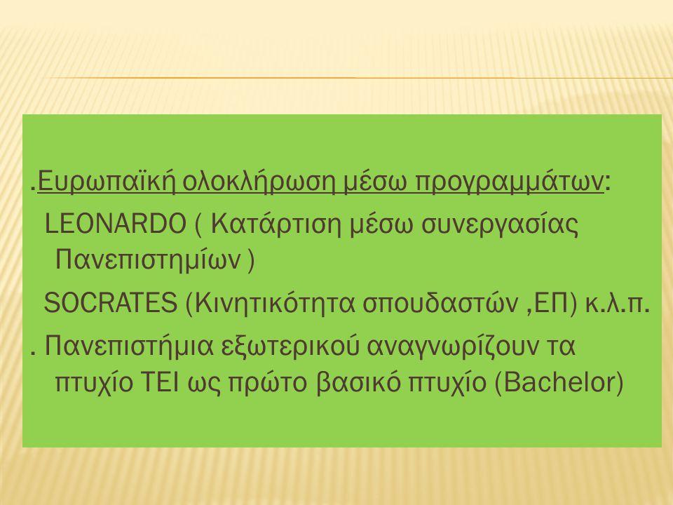 .Ευρωπαϊκή ολοκλήρωση μέσω προγραμμάτων: LEONARDO ( Κατάρτιση μέσω συνεργασίας Πανεπιστημίων ) SOCRATES (Κινητικότητα σπουδαστών,ΕΠ) κ.λ.π..