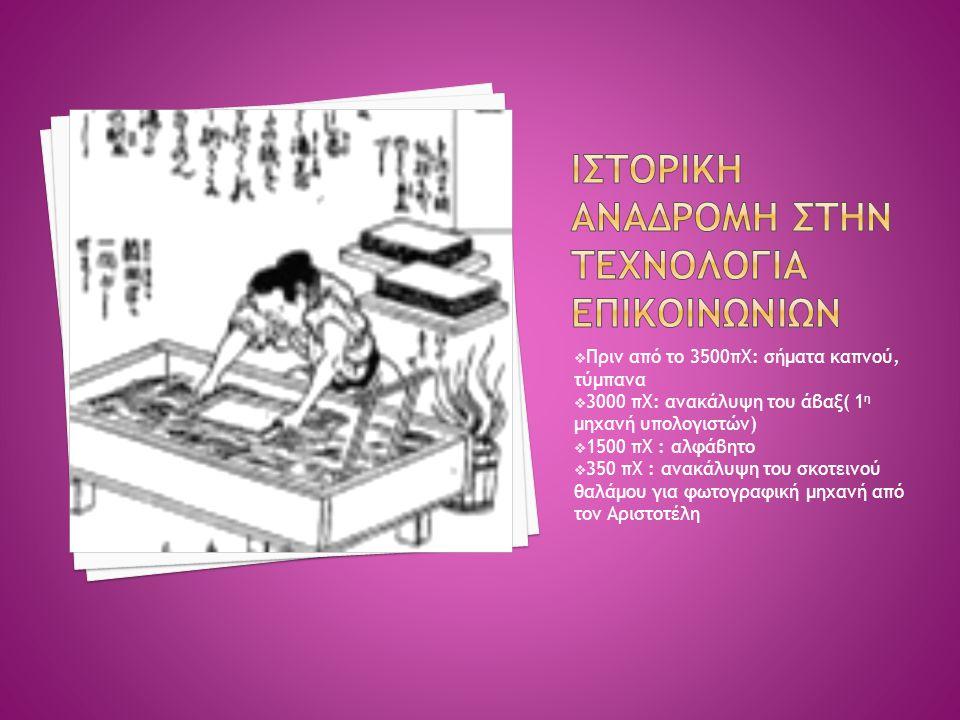  Πριν από το 3500πΧ: σήματα καπνού, τύμπανα  3000 πΧ: ανακάλυψη του άβαξ( 1 η μηχανή υπολογιστών)  1500 πΧ : αλφάβητο  350 πΧ : ανακάλυψη του σκοτ