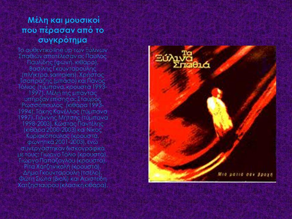 Μέλη και μουσικοί που πέρασαν από το συγκρότημα Το αυθεντικό line up των Ξύλινων Σπαθιών αποτέλεσαν οι: Παύλος Παυλίδης (φωνή, κιθάρα), Βασίλης Γκουνταρούλης (πλήκτρα, samplers), Χρήστος Τσαπράζης (μπάσο) και Πάνος Τόλιος (τύμπανα, κρουστά 1993- 1997).