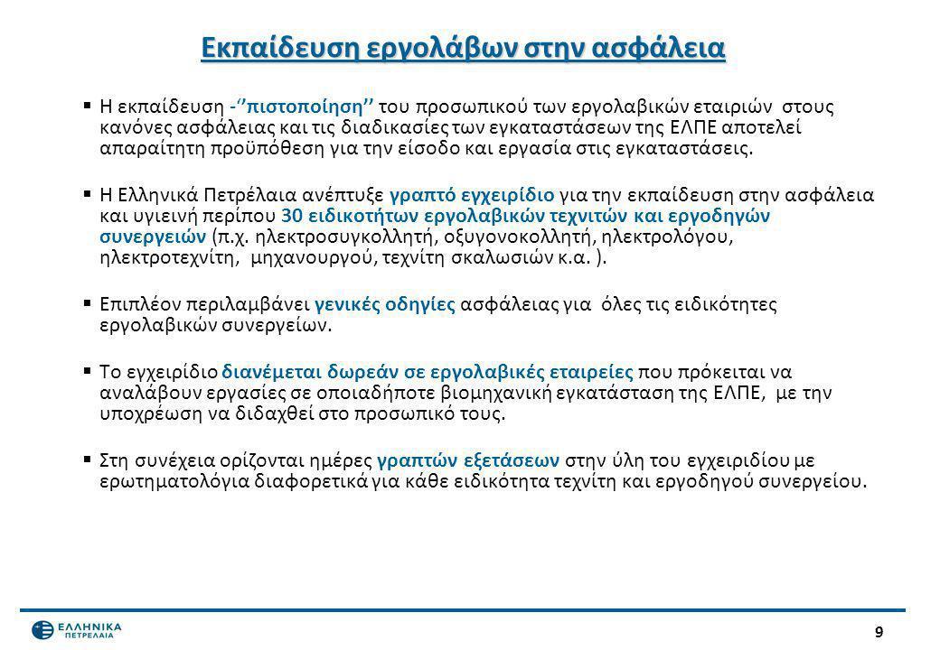 9 Εκπαίδευση εργολάβων στην ασφάλεια  Η εκπαίδευση -''πιστοποίηση'' του προσωπικού των εργολαβικών εταιριών στους κανόνες ασφάλειας και τις διαδικασί