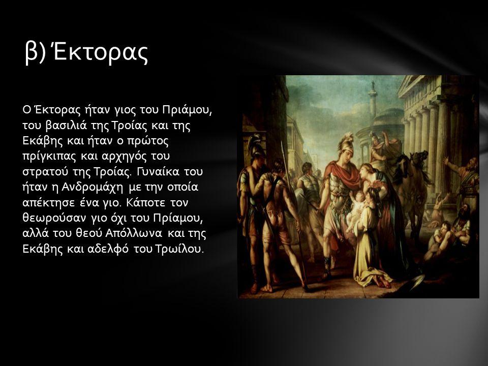 Ο Έκτορας ήταν γιος του Πριάμου, του βασιλιά της Τροίας και της Εκάβης και ήταν ο πρώτος πρίγκιπας και αρχηγός του στρατού της Τροίας. Γυναίκα του ήτα